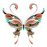 Wzorzysty barwiony motyl Afrykanina, hindusa, totemu, tatuażu projekt/ ilustracji