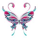 Wzorzysty barwiony motyl Afrykanina, hindusa, totemu, tatuażu projekt/ Zdjęcie Stock