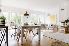 Wzorzysty dywan w żywym pokoju zdjęcia royalty free