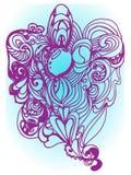 Wzorzysty purpura wzór na błękitnym i białym tle ilustracji