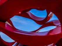 Wzór w sztuki pracie w Czerwonym i Błękitnym Zdjęcie Royalty Free