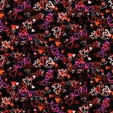 Wzór z ręki malującymi sercami Zdjęcia Stock