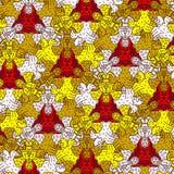 Wzór z stylizowanymi aniołami, diabłami i ptakami, - ulga Obraz Stock