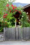 Wzrastał łękowatą drewnianą bramę Zdjęcie Stock