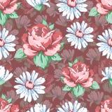 Wzrastał i chamomile kwiatu ręka rysuje bezszwowego wzór, wektorowy kwiecisty tło, kwiecisty hafciarski ornament Patroszeni pączk Obraz Stock