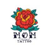Wzrastał kwiatu, faborku i słowo mamy, klasycznego Amerykańskiego stara szkoła tatuażu wektorowa ilustracja na białym tle ilustracja wektor