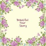 Wzrastał kwiatu i motyla ramowego tło Zdjęcia Royalty Free