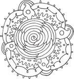 Wzrastał kwiatu mandala Doodle kolorystyki strona dla dorosłych Wektorowa bolączka Obraz Royalty Free