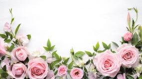 Wzrastał kwiatu z liść ramą zdjęcie royalty free