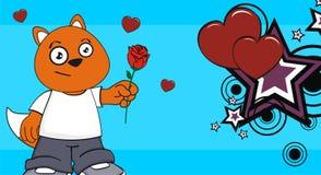 Wzrastał miłość lisa dzieciaka kreskówki wyrażenia małego pyzatego tło Fotografia Stock