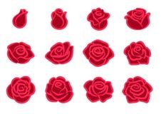 Wzrastał okwitnięcie ikony set Prości czerwieni róży kwiatu projekta elementy dla walentynka dnia, miłość, natura, uprawia ogróde ilustracja wektor