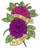 Wzrastał tatuażu projekt Obraz Royalty Free
