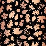Wzrastał Złocistej folii jesieni liścia sylwetek bezszwowego wektorowego tło Miedziani błyszczący abstrakcjonistyczni spadków liś royalty ilustracja