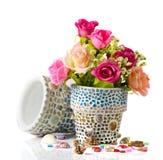 Wzrastał i mozaika kwiatu garnek Obrazy Stock