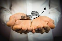 Wzrastający koszt domy, nieruchomości pojęcie zdjęcia stock