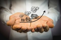 Wzrastający koszt domy, nieruchomości pojęcie fotografia royalty free