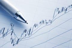 Wzrastający rynku papierów wartościowych wykres zdjęcie stock