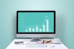 Wzrastający wykres na ekranie komputerowym zdjęcia royalty free