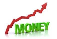 wzrastający wykresu pieniądze ilustracji