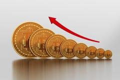 Wzrastający Koszt Bitcoin Zdjęcia Royalty Free