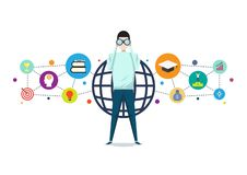 Wzrok biznesu lub edukaci pojęcie, bramkowy sukcesu wektor ilustracja wektor