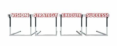 Wzrok strategii Egzekucyjny sukces Skacze Nad przeszkod słowami royalty ilustracja