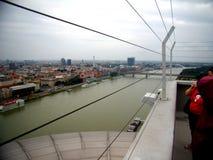 Wzrosta widok obfita Danube rzeka w Bratislava zdjęcia stock