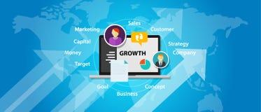 Wzrostowa biznesowej firmy sprzedaży pojęcia wzrosta marketingowa strzała royalty ilustracja