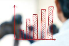 Wzrostowa prętowa mapa z zamazanymi ludźmi biznesu Fotografia Royalty Free