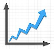Wzrostowego postępu błękitny strzałkowaty wykres Obrazy Royalty Free