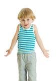 Wzruszać ramionami dziecka Dzieciak chłopiec spojrzenia intrygujący, odizolowywający Fotografia Royalty Free