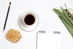Xícara de café branca em um caderno branco, tulipas brancas, um ramo do salgueiro em uma tabela de madeira branca Copie o espaço Fotografia de Stock