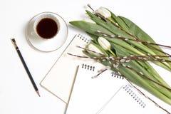 A xícara de café branca em um caderno branco, tulipas brancas, um ramo do salgueiro em uma tabela de madeira branca Copie o espaç Imagem de Stock