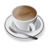 Xícara de café branca no fundo branco, ilustração do vetor Imagens de Stock Royalty Free