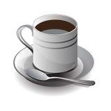 Xícara de café branca no fundo branco, ilustração do vetor Foto de Stock Royalty Free