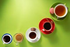 Xícara de café, chá e cacau fotografia de stock royalty free