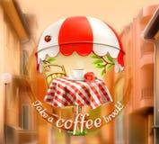 A xícara de café com aumentou em uma tabela no café ilustração royalty free