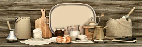 Xícara de café com chocolate no fundo de madeira Panor do café Imagem de Stock