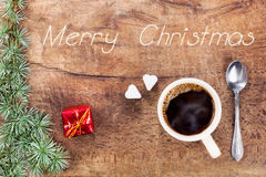 Xícara de café com decoração IX do Natal fotografia de stock