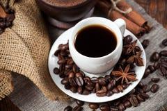 Xícara de café com feijões e especiarias Fotos de Stock