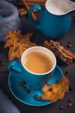 A xícara de café com feijões de café e outonais azuis secam as folhas fotos de stock
