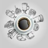 Xícara de café com ilustração criativa do vetor dos doces ilustração royalty free