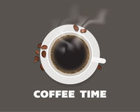 Xícara de café com ilustração da opinião superior dos feijões Imagem de Stock