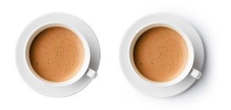 Xícara de café com opinião superior da espuma bonita imagem de stock