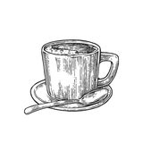 Xícara de café com pires, colher Estilo tirado mão do esboço Ilustração preta da gravura do vetor do vintage para a etiqueta, Web foto de stock royalty free