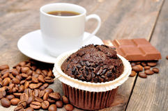 Xícara de café com queque Imagens de Stock Royalty Free