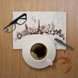 xícara de café 3d que viaja em todo o mundo Imagens de Stock Royalty Free
