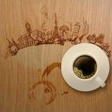 xícara de café 3d que viaja em todo o mundo Fotografia de Stock
