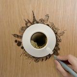 xícara de café 3d que viaja em todo o mundo Fotos de Stock Royalty Free