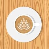 Xícara de café e pires, vista superior, na superfície de madeira realística Ilustração do vetor Cappuccino com o desenho na super Fotografia de Stock